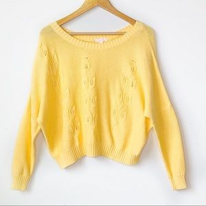 Sweaters - Yellow Embroidered Sweater